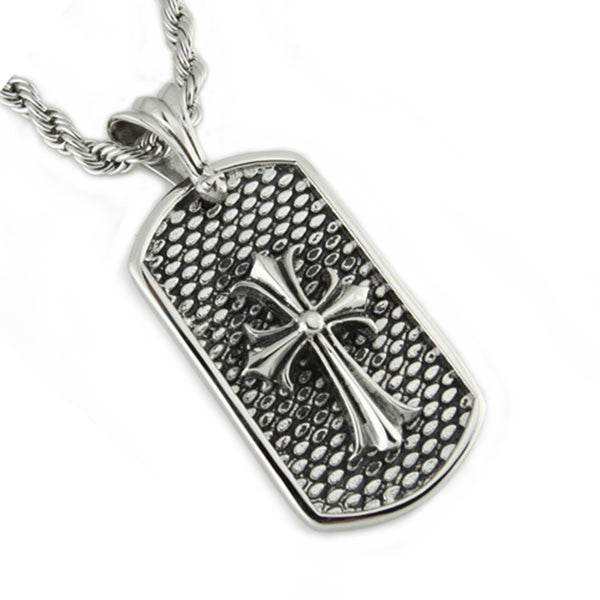 Stainless Steel Celtic Cross Dog Tag Biker Pendant Necklace - Tioneer