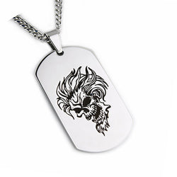 Stainless Steel Skull Dog Tag Biker Pendant Necklace - Tioneer