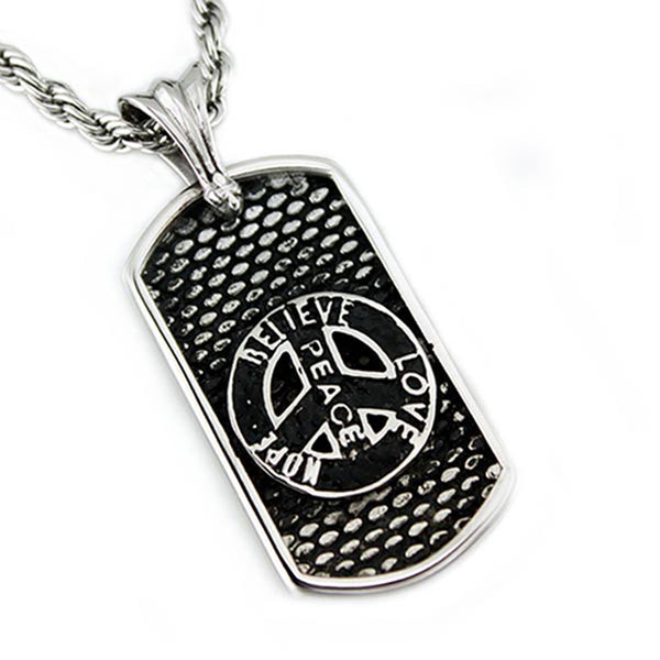 Two-Tone Stainless Steel Believe Love Hope Peace Dog Tag Pendant Necklace - Tioneer