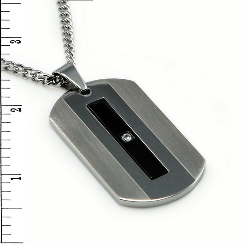 Two-Tone Stainless Steel Cubic Zirconia Dog Tag Pendant Necklace - Tioneer