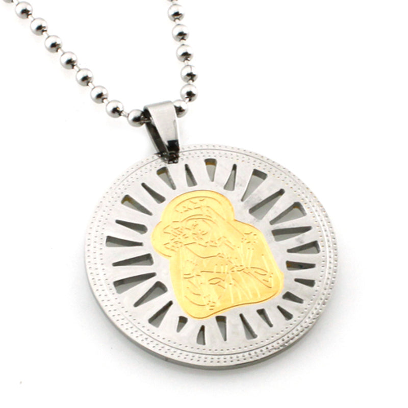 Two-Tone Stainless Steel Mother Mary & Baby Jesus Disc Medallion Pendant Necklace - Tioneer