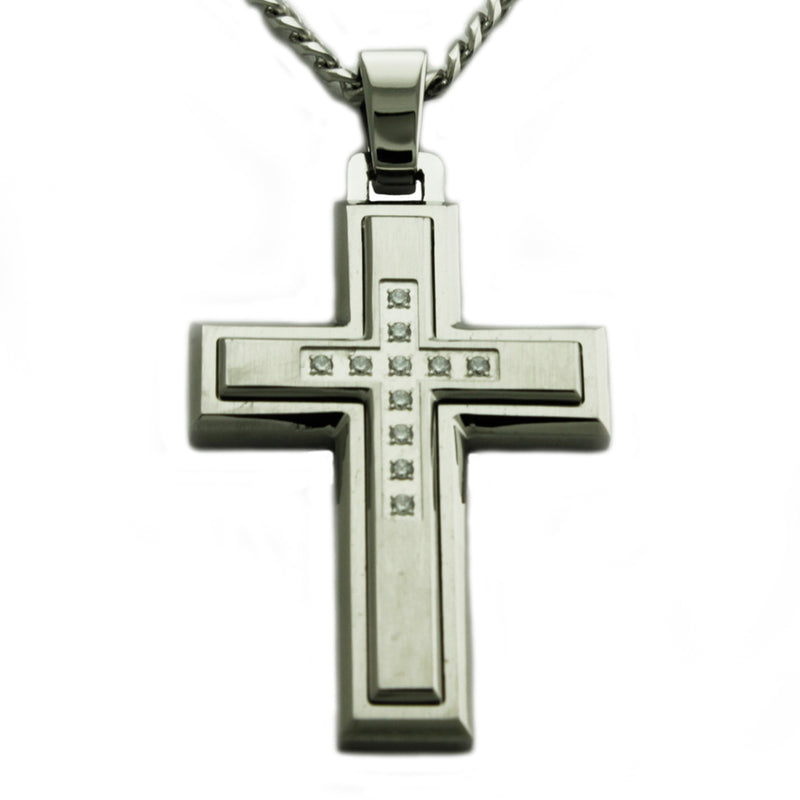 Stainless Steel Layered Cubic Zirconia Cross Pendant Necklace - Tioneer