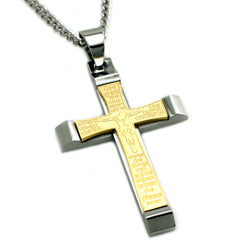 Two Tone Stainless Steel Jesus on the Cross Serenity Prayer Pendant Necklace - Tioneer