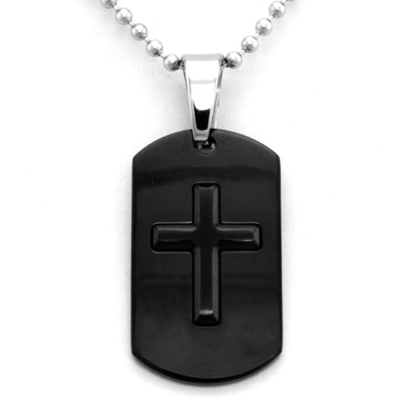 Black Stainless Steel Cross Dog Tag Pendant Necklace - Tioneer