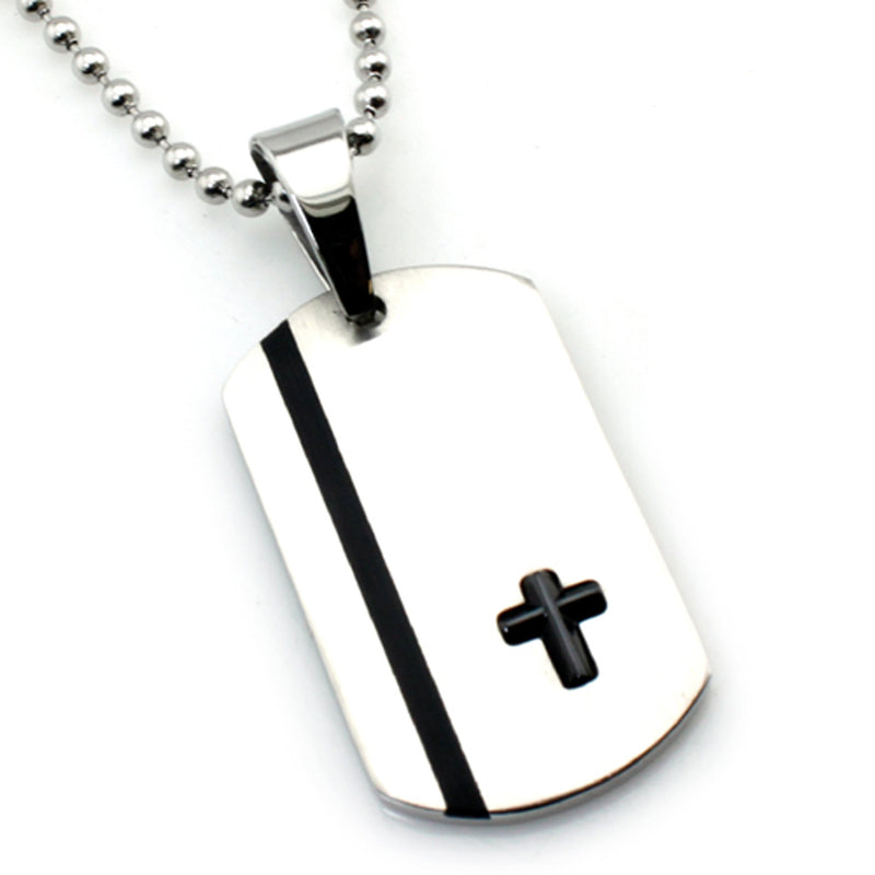 Two-Tone Stainless Steel Brush Finish Dog Tag Cross Pendant Necklace - Tioneer