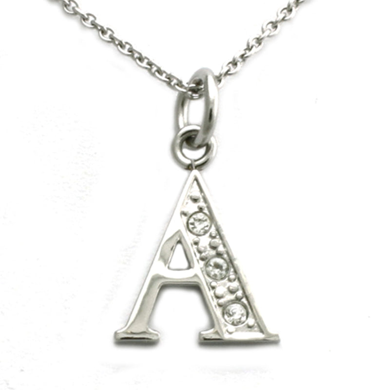 Stainless Steel Alphabet Letter A Initial Cubic Zirconia Charm Pendant Necklace - Tioneer