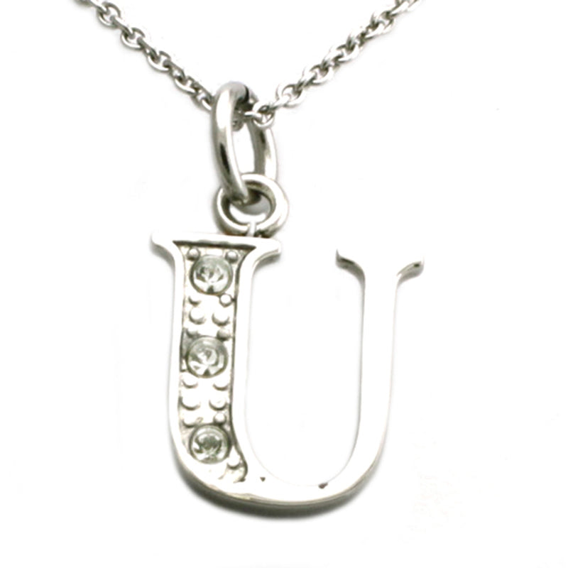 Stainless Steel Alphabet Letter U Initial Cubic Zirconia Charm Pendant Necklace - Tioneer