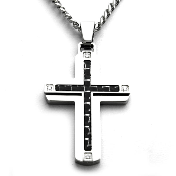 Stainless Steel Cubic Zirconia Carbon Fiber Cross Pendant Necklace - Tioneer