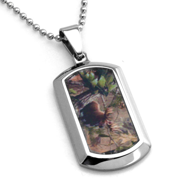 Stainless Steel Forest Animal Camouflage Dog Tag Pendant Necklace - Tioneer