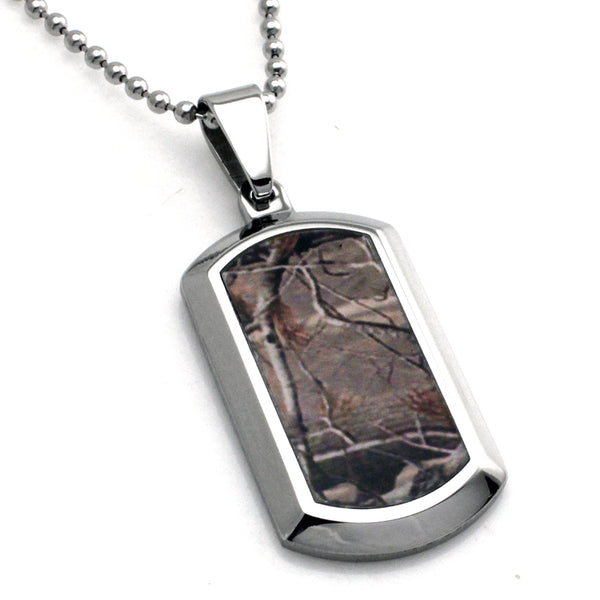 Stainless Steel Forest Tree Camouflage Dog Tag Pendant Necklace - Tioneer