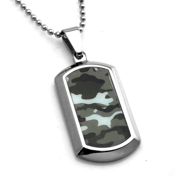 Stainless Steel Ocean Blue Camouflage Dog Tag Pendant Necklace - Tioneer