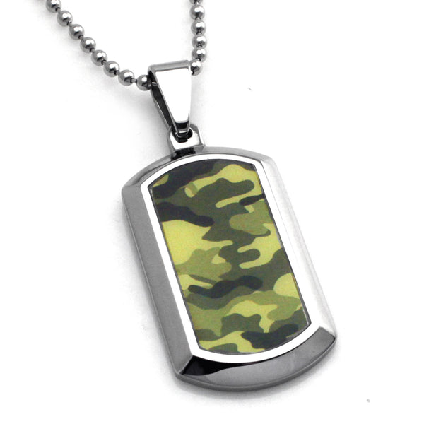 Stainless Steel Earth Green Camouflage Dog Tag Pendant Necklace - Tioneer