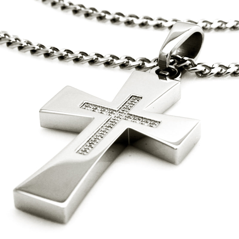 Stainless Steel Cubic Zirconia Embellished Cross Pendant Necklace - Tioneer