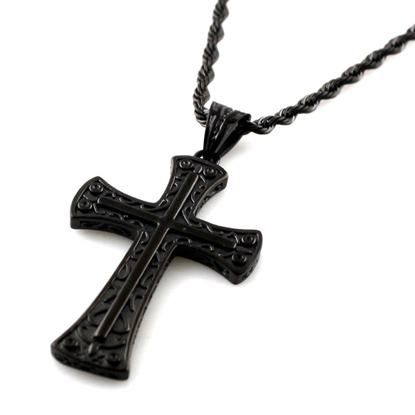 Black Stainless Steel Vermicular Pattern Biker Cross Pendant Necklace - Tioneer