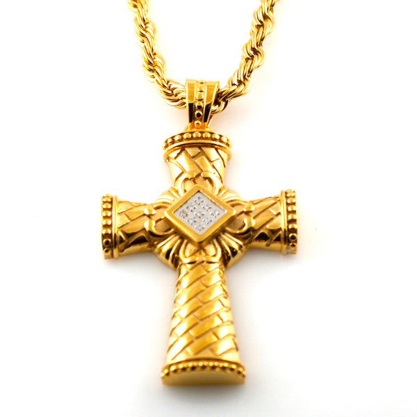 Gold Plated Stainless Steel Cubic Zirconia Roman Cross Pendant Necklace - Tioneer