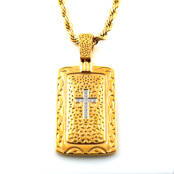 Gold Plated Stainless Steel CZ Cross Ancient Scroll Dog Tag Pendant Necklace - Tioneer