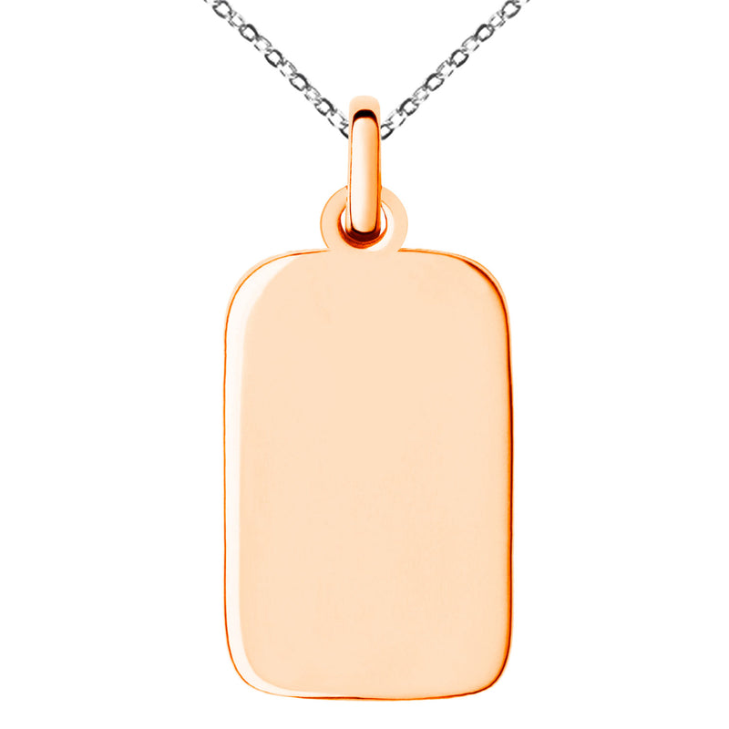 Stainless Steel Engravable Small Rectangle Dog Tag Charm Pendant Necklace - Tioneer