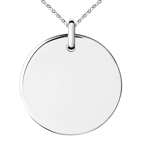 Stainless Steel Engravable Small Medallion Circle Charm Pendant Necklace - Tioneer