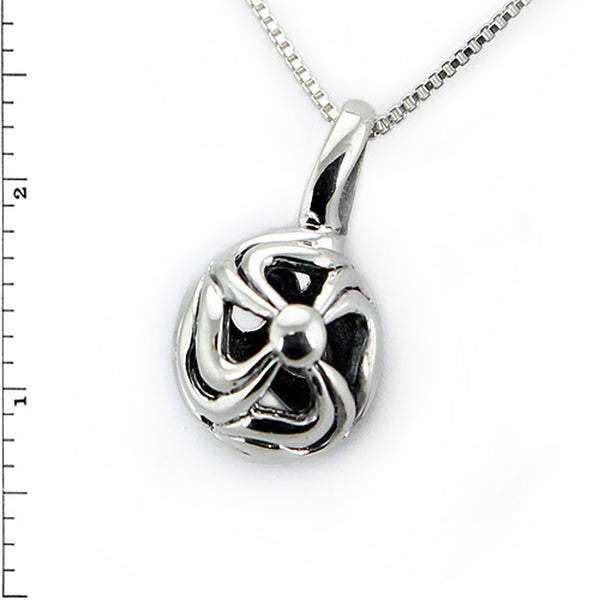 Sterling Silver Floral Hollow Ball Charm Pendant Necklace - Tioneer