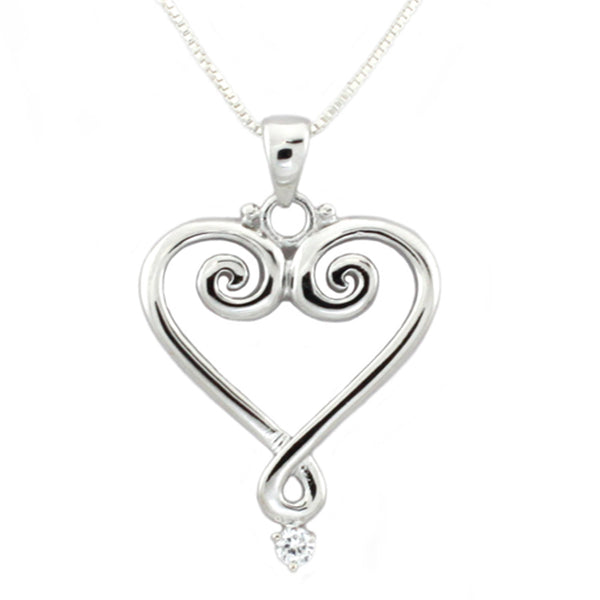 Sterling Silver Cubic Zirconia Chandelier Heart Pendant Necklace - Tioneer