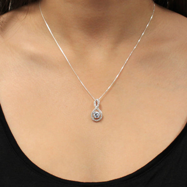 Sterling Silver Figure 8 Infinity 1.50 CTW Clear CZ Pendant Necklace - Tioneer