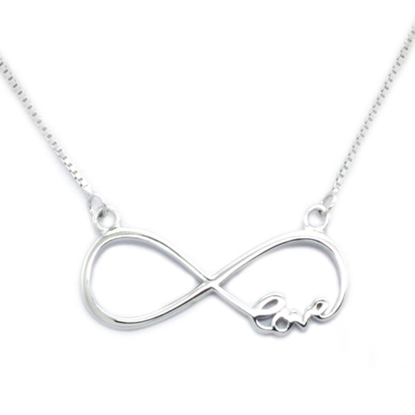 Sterling Silver Love Infinity Charm Pendant Necklace - Tioneer