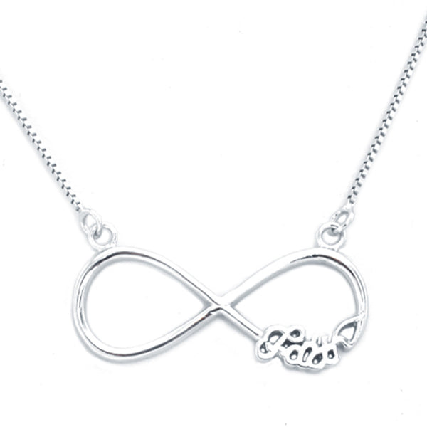 Sterling Silver Faith Infinity Charm Pendant Necklace - Tioneer