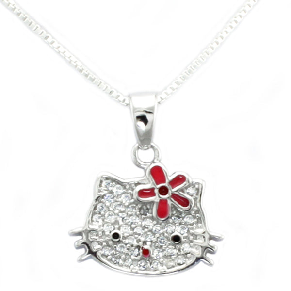 Sterling Silver Cubic Zirconia Flower Kitty Charm Pendant Necklace - Tioneer