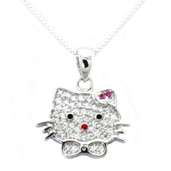 Sterling Silver Cubic Zirconia Kitty Pendant Necklace - Tioneer