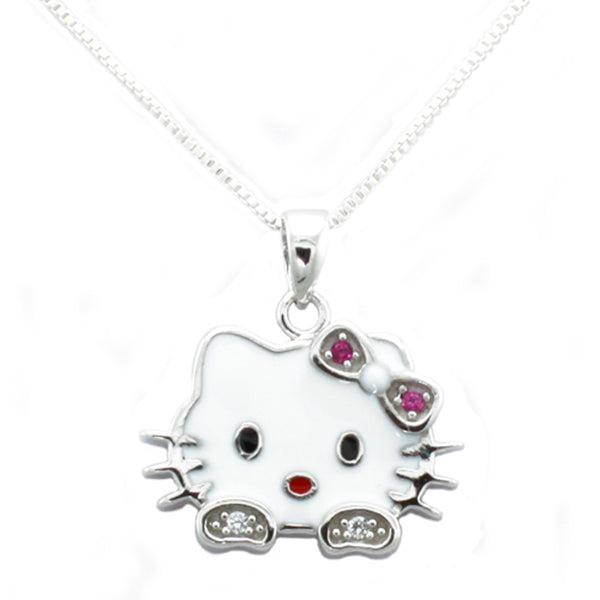 Sterling Silver Gloss Kitty Pendant Necklace - Tioneer