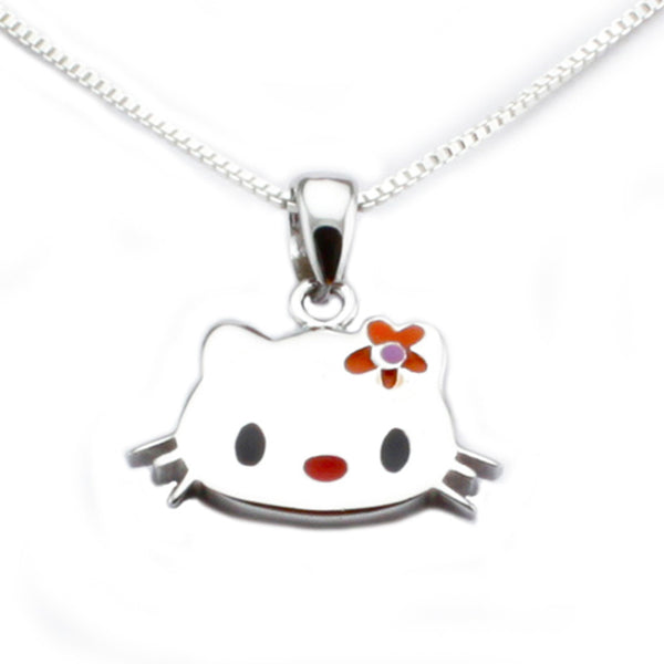 Sterling Silver High Polish Kitty Pendant Necklace - Tioneer
