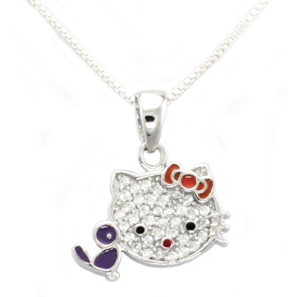 Sterling Silver Cubic Zirconia Purple Bird Kitty Pendant Necklace - Tioneer