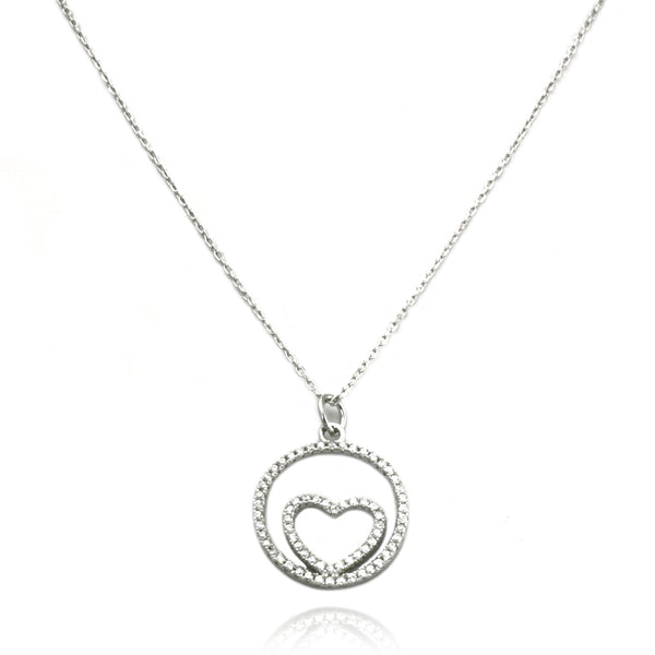 Sterling Silver Heart in Soul Charm Pendant Necklace - Tioneer