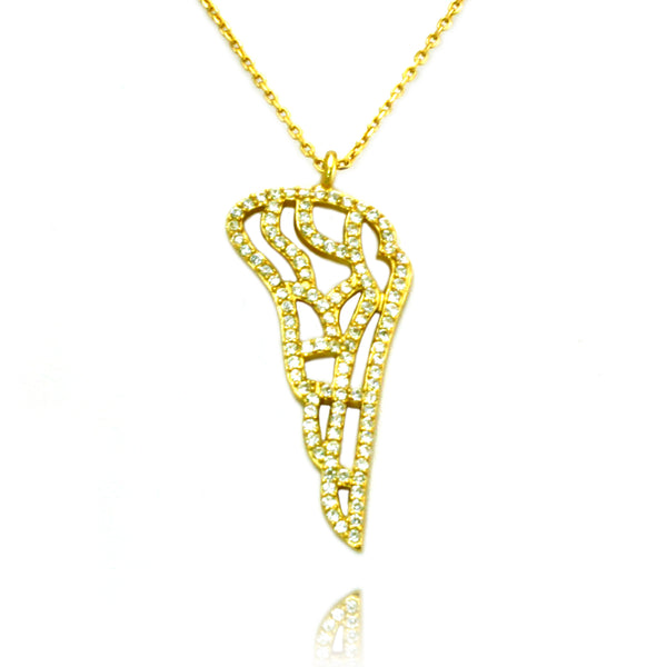 Gold Plated Sterling Silver Angel Wing Charm Pendant Necklace - Tioneer