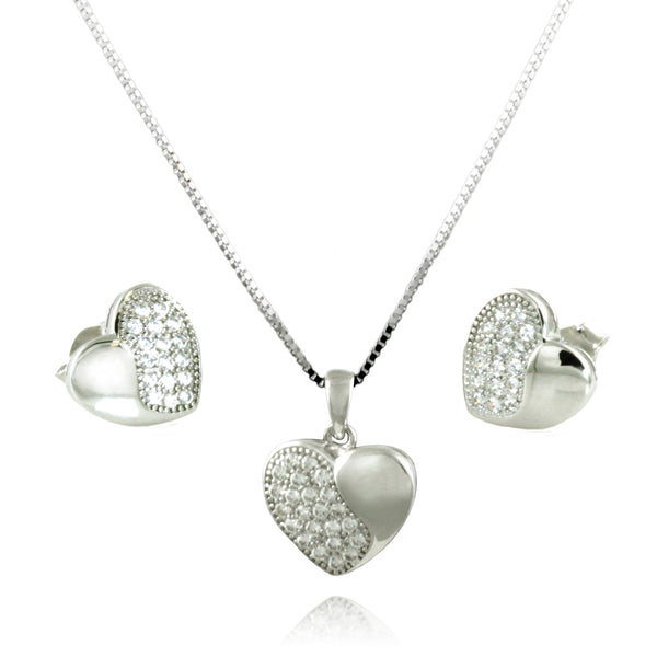 Sterling Silver Cubic Zirconia Half Sparkling Heart Charm Pendant Earrings Set - Tioneer