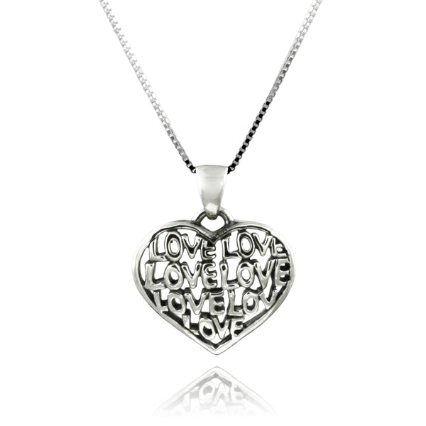 Sterling Silver Cut-out Love Heart Charm Pendant Necklace - Tioneer