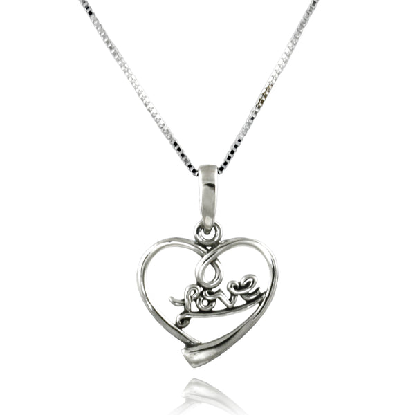 Sterling Silver Wireframe Heart Love Charm Pendant Necklace - Tioneer