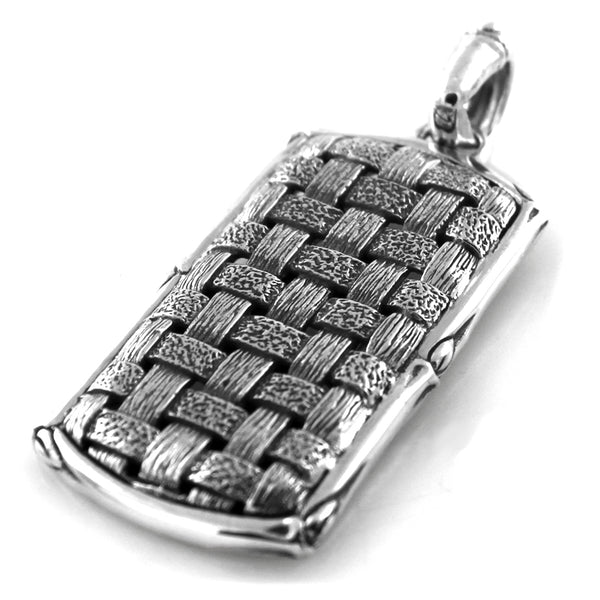 Sterling Silver Hatch Weave Pattern Pendant - Tioneer