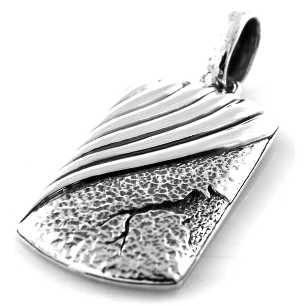 Sterling Silver Serpentine Broken Hammered Pattern Pendant - Tioneer