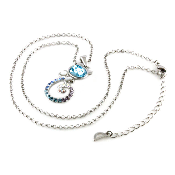Swarovski Elements Blue Crystal Kitty Cat Charm Pendant Necklace - Tioneer