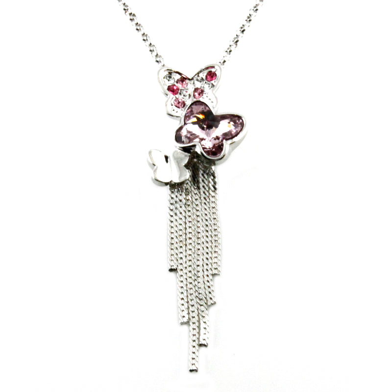 Swarovski Elements Purple Crystal Butterflies Charm Pendant Necklace - Tioneer