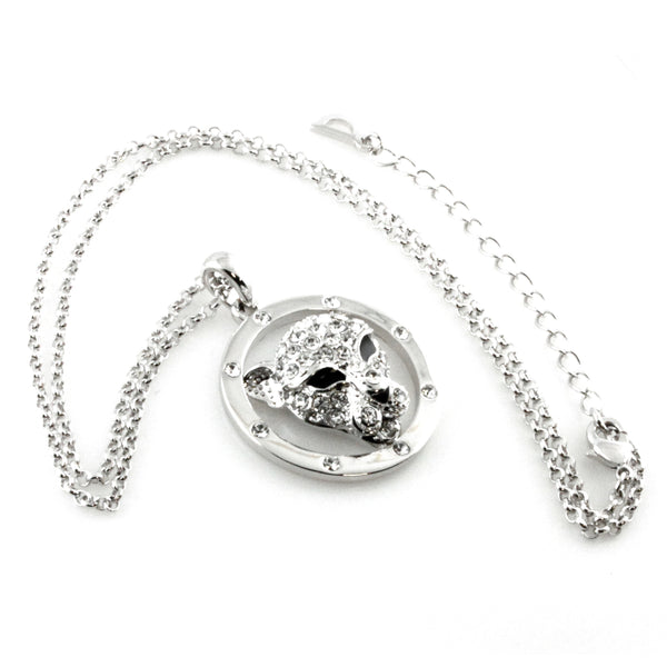Swarovski Elements Jaguar Head Charm Pendant Necklace - Tioneer