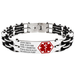 Stainless Steel Personalized Medical Alert ID Badge Black Rubber Accent Biker Link Bracelet