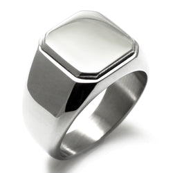 Stainless Steel Engravable Square Flat Top Biker Style Polished Ring - Tioneer