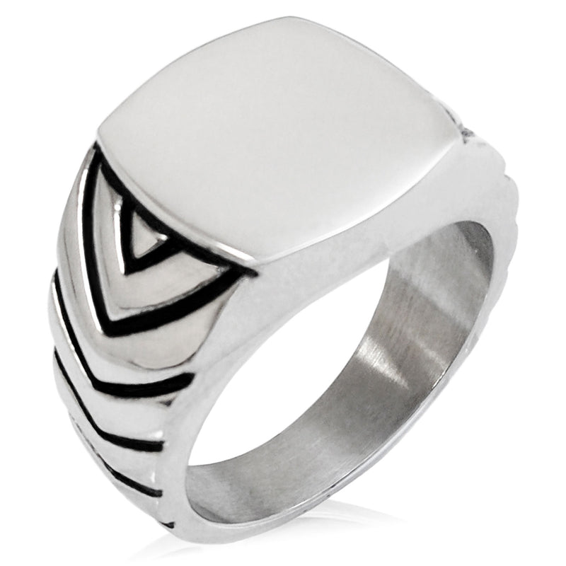 Stainless Steel Engravable Chevron Pattern Biker Style Polished Ring - Tioneer
