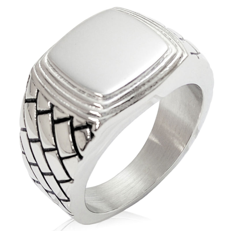 Stainless Steel Engravable Geometric Pattern Step-Down Biker Style Polished Ring - Tioneer