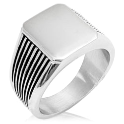Stainless Steel Engravable Needle Stripe Pattern Biker Style Polished Ring - Tioneer