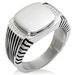 Stainless Steel Engravable CZ Ribbed Needle Stripe Pattern Biker Style Polished Ring - Tioneer