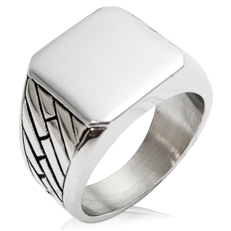 Stainless Steel Engravable Geometric Pattern Biker Style Polished Ring - Tioneer