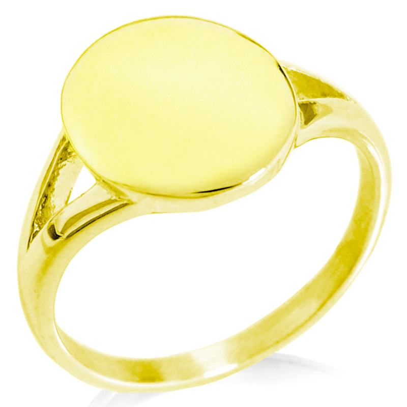 Stainless Steel Engravable Minimalist Oval Top Polished Statement Ring - Tioneer